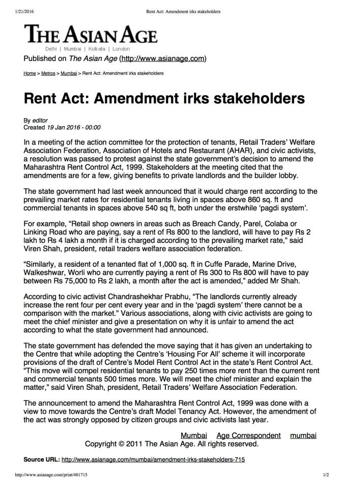 Rent Act- Amendment irks stakeholders