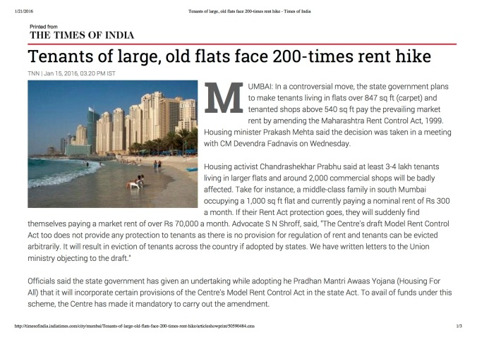Tenants of large, old flats face 200-times rent hike - Times of India